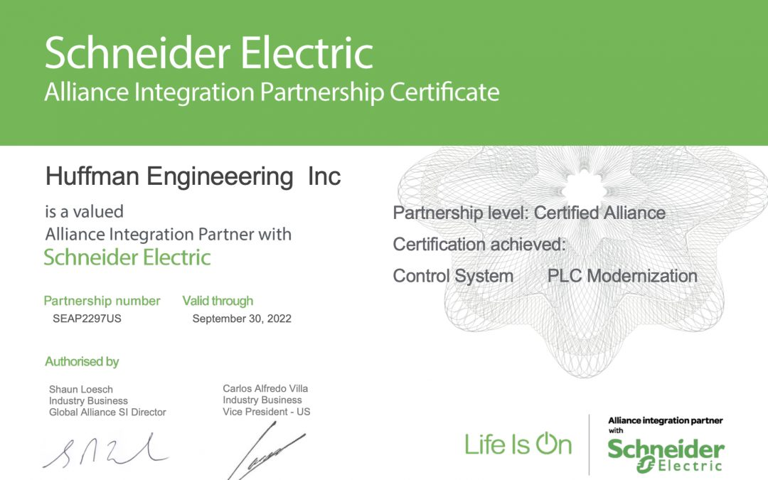 Huffman Engineering, Inc. Receives Schneider Electric PLC Modernization Solutions Certification